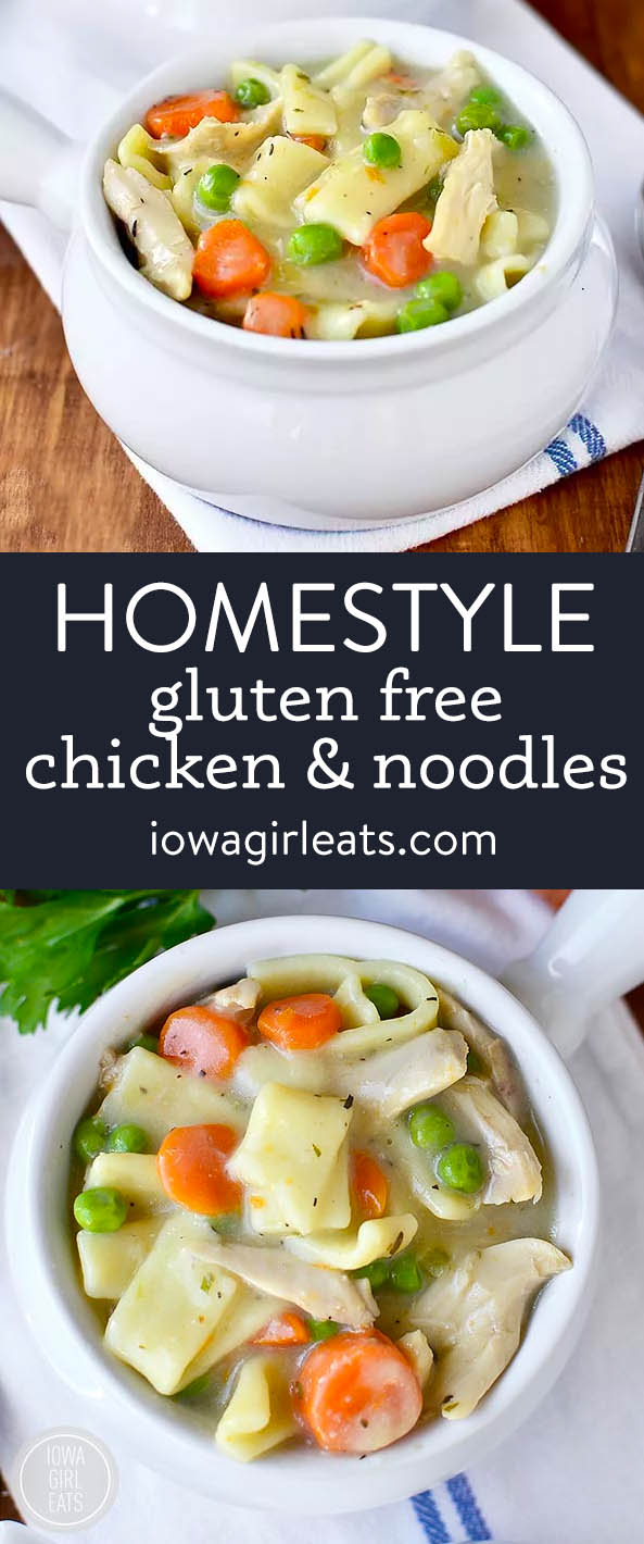 photo collage of gluten free homestyle chicken and noodles