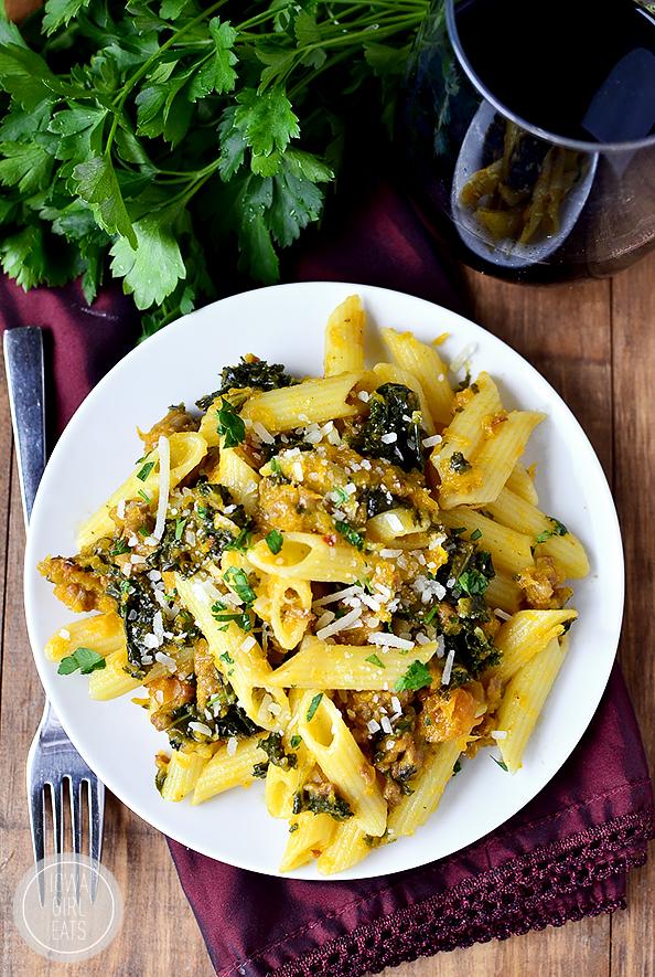Gluten-Free Penne with Kale, Butternut Squash and Sausage #glutenfree | iowagirleats.com