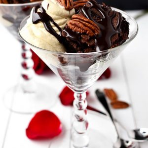 Gluten-Free Turtle Brownie Sundaes with Salted Caramel Whipped Cream