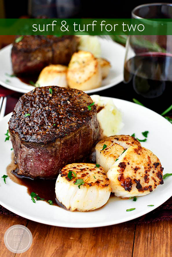 Steak and scallops on a plate
