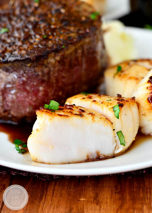 seared scallops sliced in half on a plate