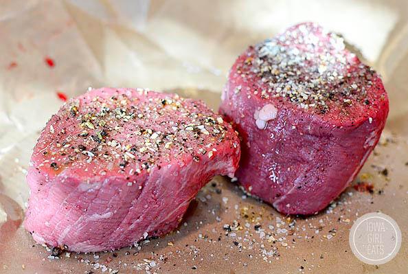 seasoned filet mignon steaks on butcher paper
