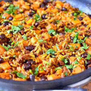Chorizo, Sweet Potato and Black Bean Rice Skillet