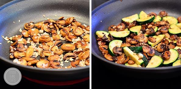 Garlic Mushroom and Zucchini Pasta with Shrimp #glutenfree | iowagirleats.com