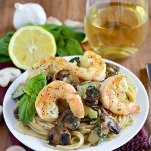 Garlic Mushroom and Zucchini Pasta with Shrimp