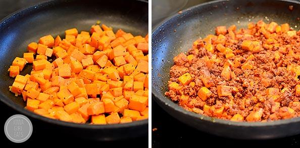 Mexican Chorizo, Sweet Potato and Black Bean Rice Skillet #glutenfree #dairyfree | iowagirleats.com