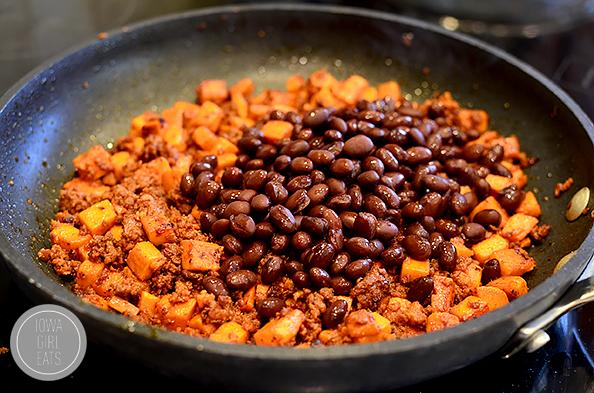 Mexican Chorizo, Sweet Potato and Black Bean Rice Skillet #glutenfree #dairyfree   iowagirleats.com