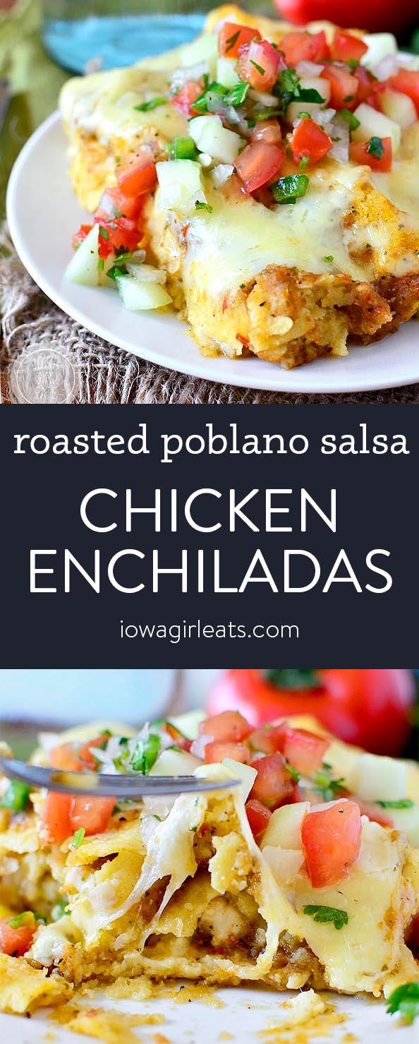 Photo collage of roasted poblano chicken enchiladas