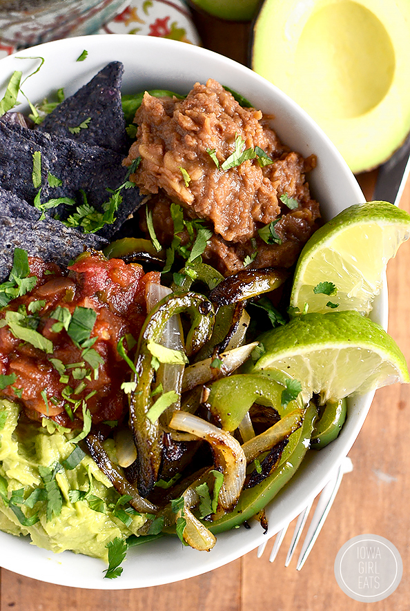 Vegetable Fajita Tostada Bowls are a delicious mix of vegetable fajitas and filling tostadas. Fresh, healthy, and ready in 20 minutes! #glutenfree   iowagirleats.com
