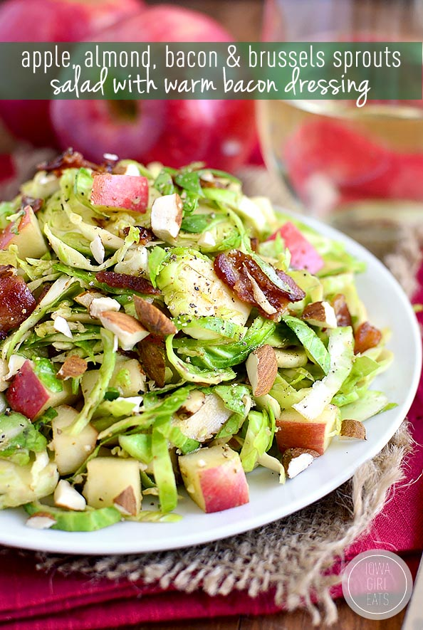 Apple, Almond, Bacon and Brussels Sprouts Salad with warm bacon ...