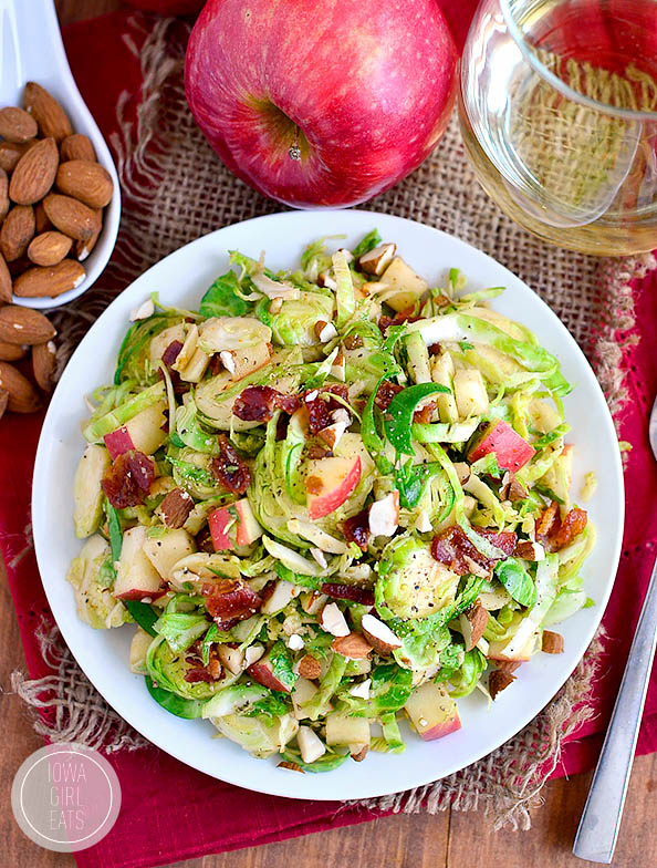 overhead photo of a plate of almond bacon brussels sprouts salad