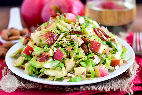 Plateful of almond bacon brussels sprouts salad