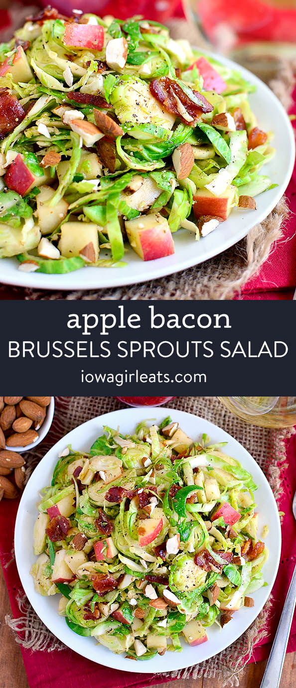 photo collage of apple almond bacon brussels sprouts salad
