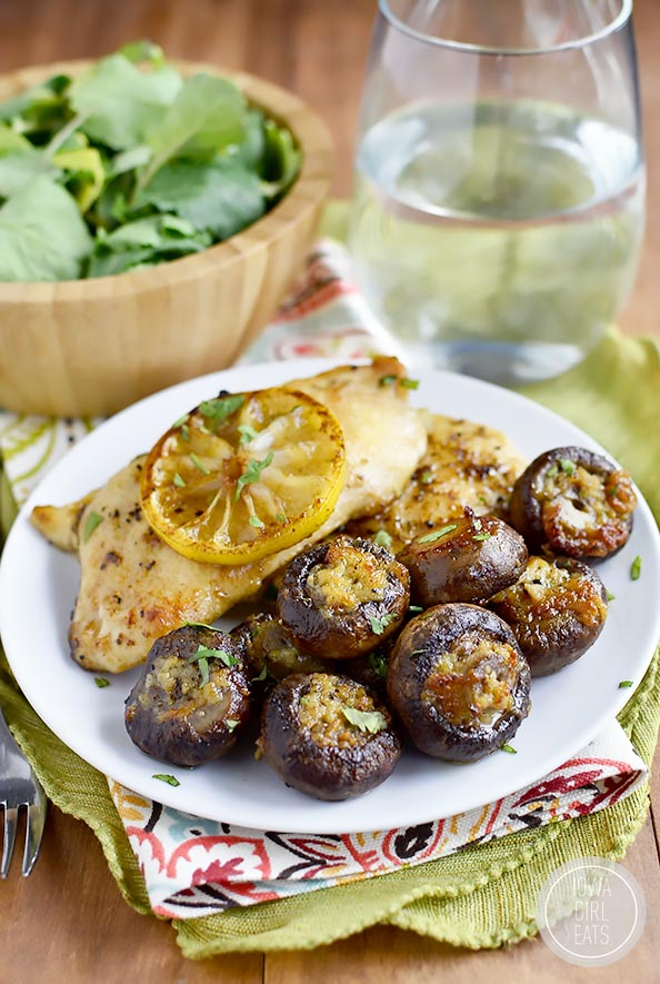 Easy Garlic Butter Roasted Mushrooms is an essential side dish to have in your recipe repertoire. Make and enjoy often! #glutenfree   iowagirleats.com