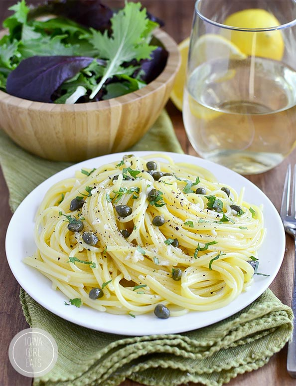 Pasta with Garlic Butter Caper Sauce is a light and flavorful 20 ...