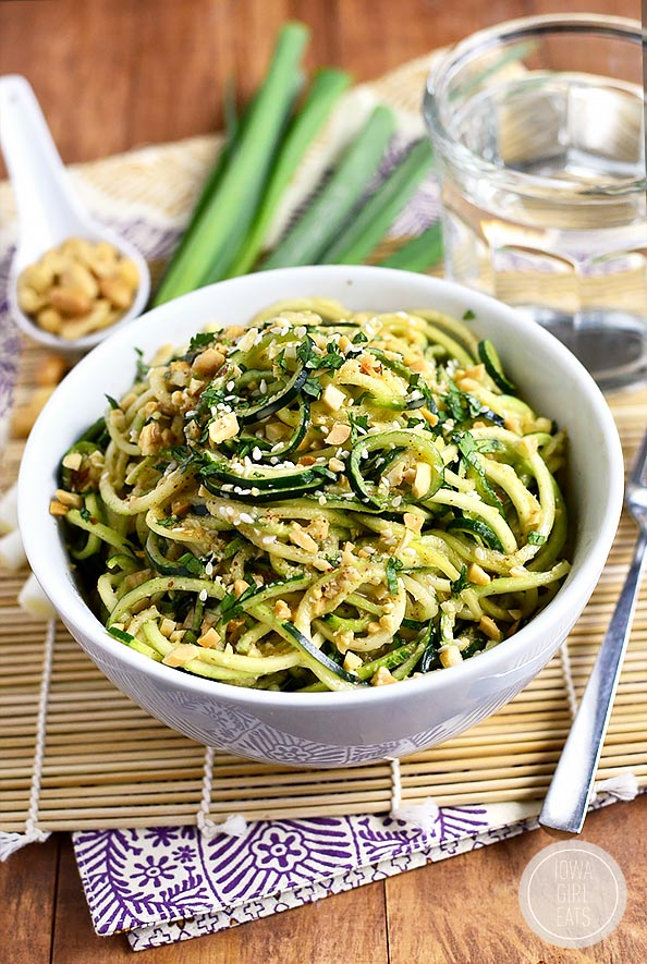 Sesame Almond Butter Zucchini Noodle Bowls are a veggie-based spin on ...