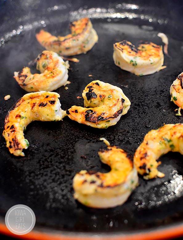 skillet of cooked shrimp