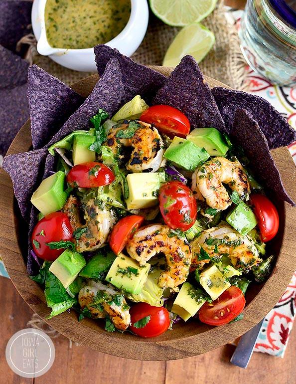 overhead photo of a bowl of Shrimp and Avocado Taco Salad