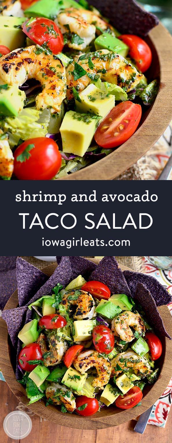 Photo collage of shrimp and avocado taco salad