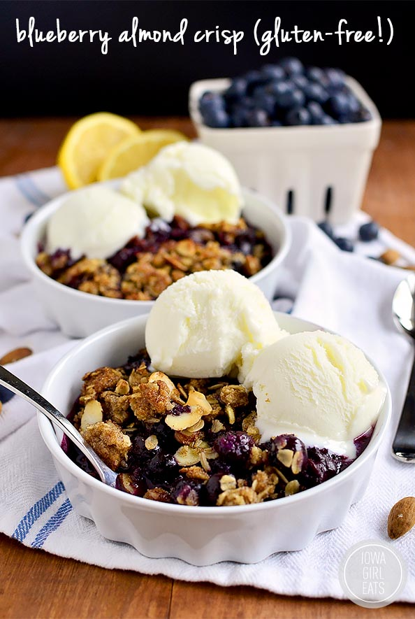 Blueberry Almond Crisp is a sweet-tart celebration of blueberries with an irresistible crisp topping! #glutenfree | iowagirleats.com