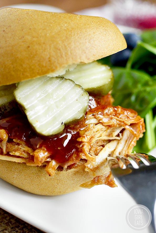Closeup photo of crock pot bbq chicken sandwich