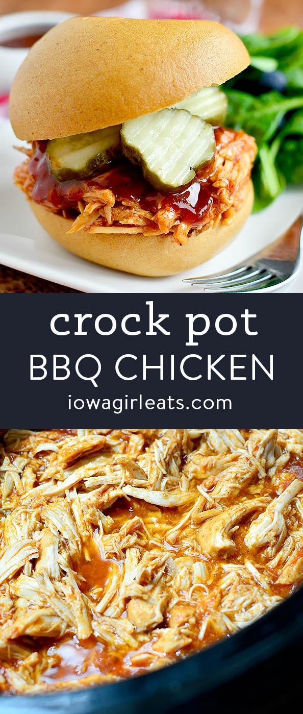 Photo collage of crock pot bbq chicken