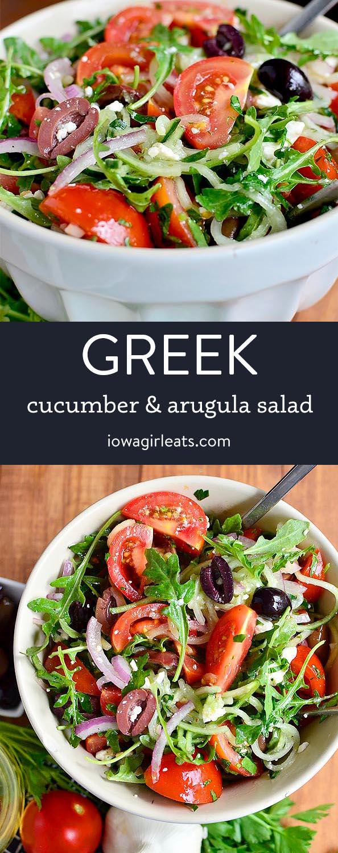 Photo collage of greek cucumber and arugula salad