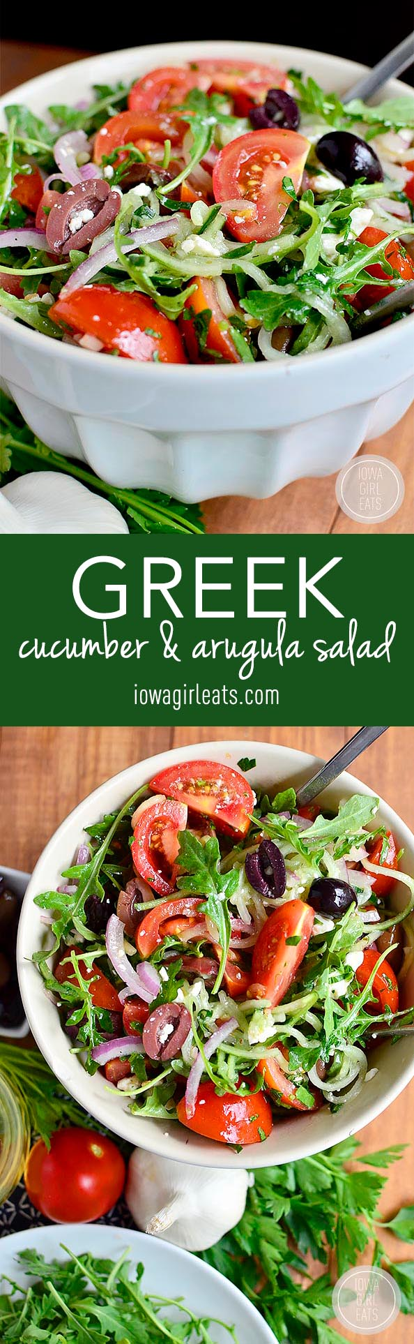 Greek Cucumber and Arugula Salad is fresh and light. Perfect as a light side with dinner or taking to a party or pot luck! #glutenfree | iowagirleats.com