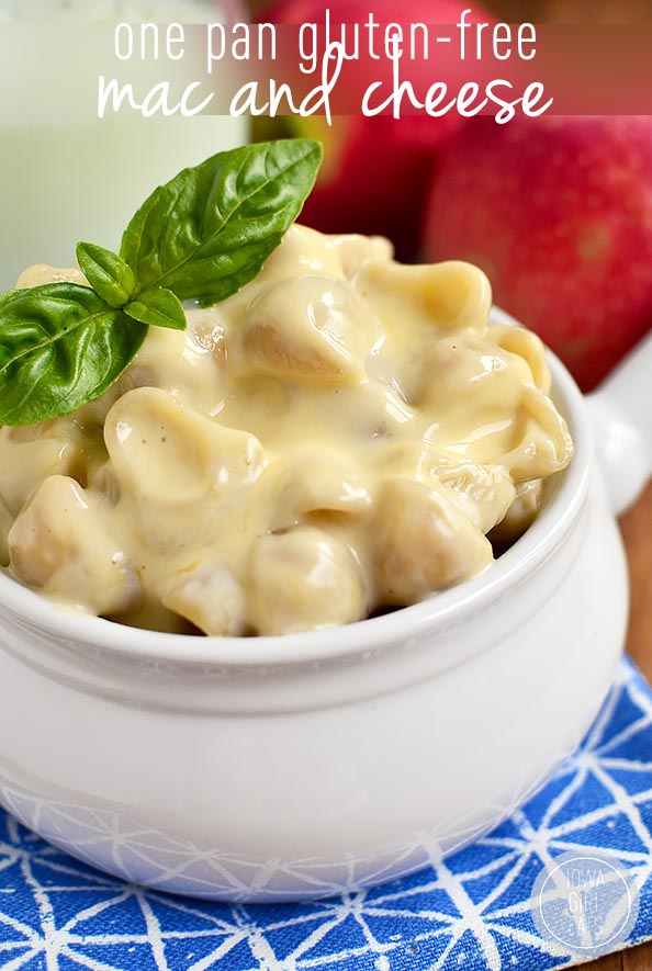 Picture the creamiest, cheesiest mac and cheese - made gluten-free and without butter or cream! One Pot Gluten-Free Mac and Cheese is it! #glutenfree   iowagirleats.com