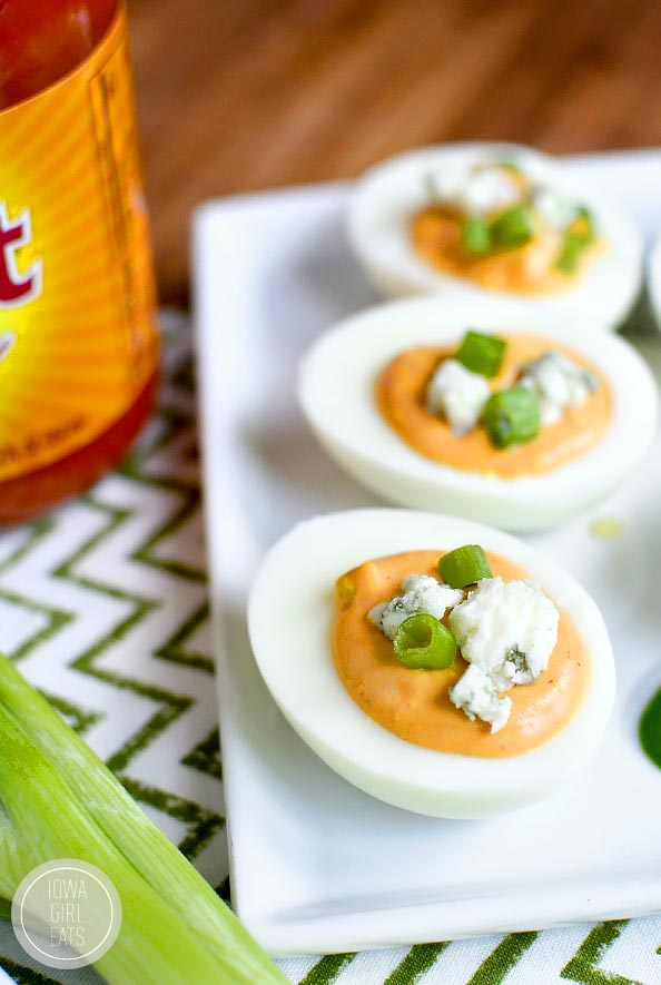 Buffalo Ranch Deviled eggs are truly devilish-tasting thanks to spicy buffalo wing sauce and cooling ranch dressing in the mix! #glutenfree   iowagirleats.com