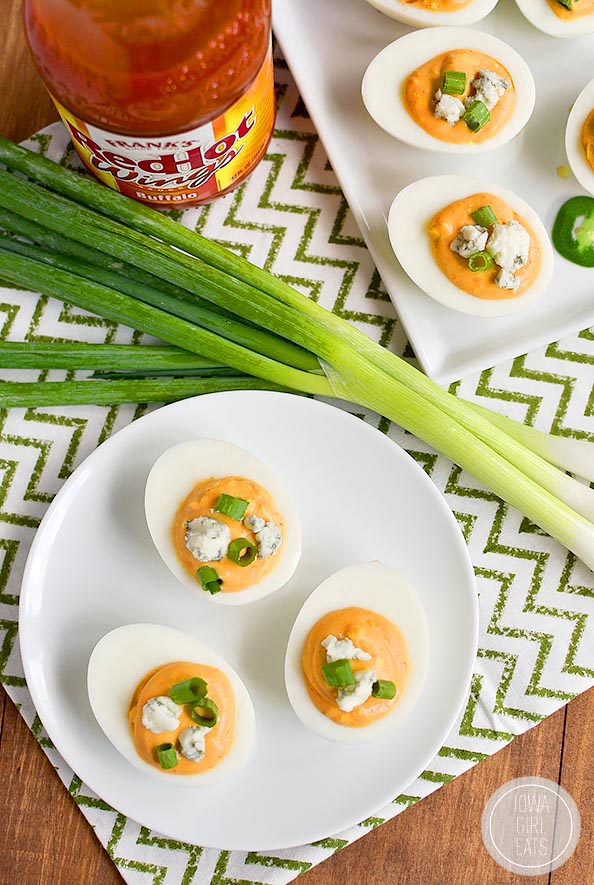 Buffalo Ranch Deviled eggs are truly devilish-tasting thanks to spicy buffalo wing sauce and cooling ranch dressing in the mix! #glutenfree   iowagirleats.com!