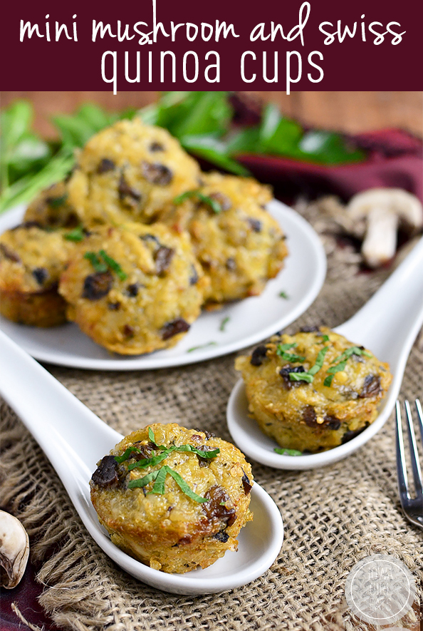 Mini Mushroom and Swiss Quinoa Cups are meatless, gluten-free bites with big, sophisticated flavor. Enjoy for breakfast or a light meal, or as an easy snack! #glutenfree | iowagirleats.com