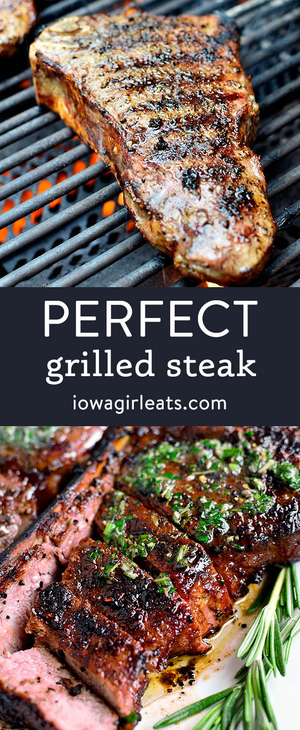 Photo collage of perfect grilled steak