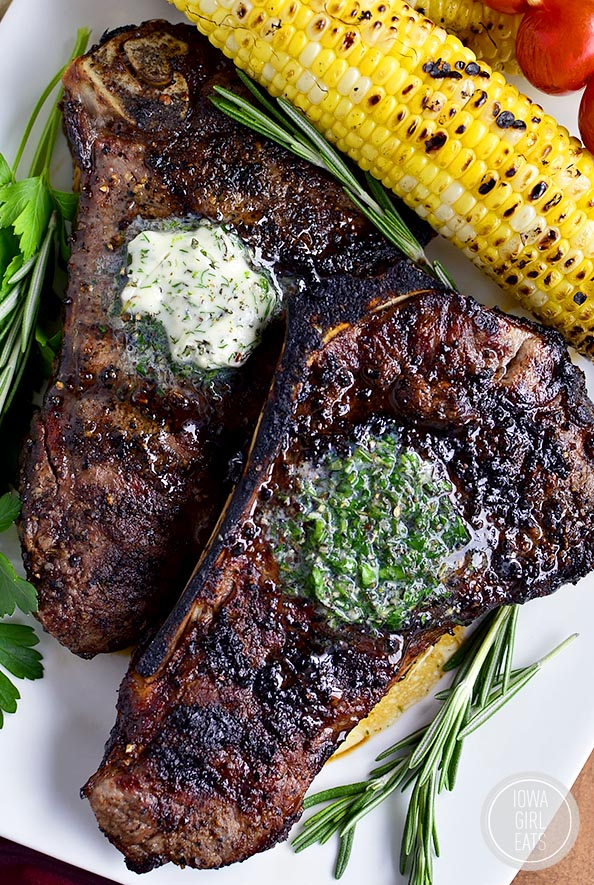Perfect Grilled Steak with Herb Butter features a homemade dry rub and ...