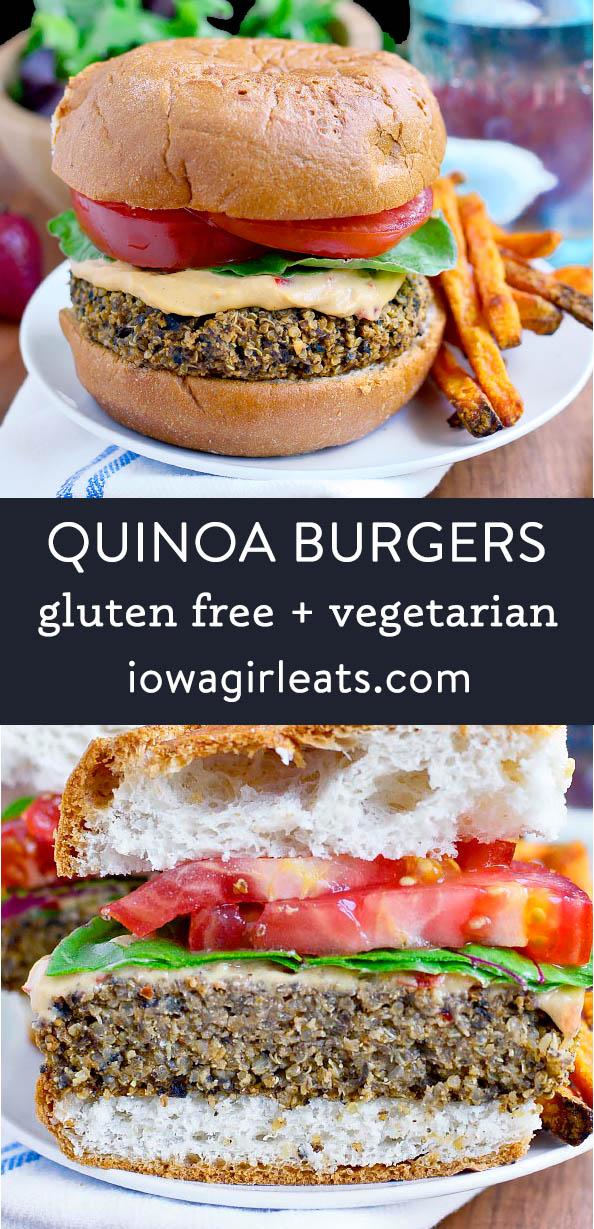 photo collage of quinoa burgers