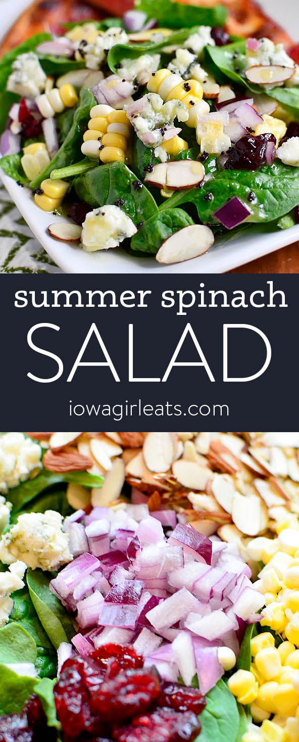Photo collage of summer spinach salad
