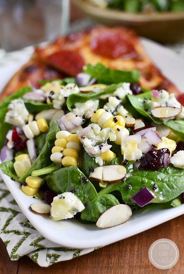Summer Spinach Salad with Lemon Poppyseed Dressing is full of fresh summer fruits and vegetables! #glutenfree   iowagirleats.com