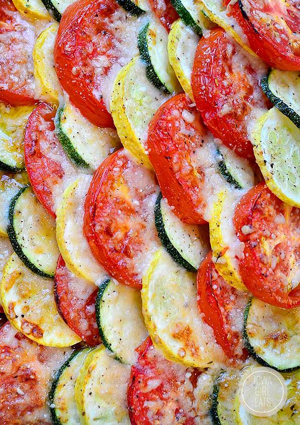 baked summer vegetable gratin in a baking dish