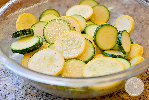 sliced zucchini and summer squash in a bowl