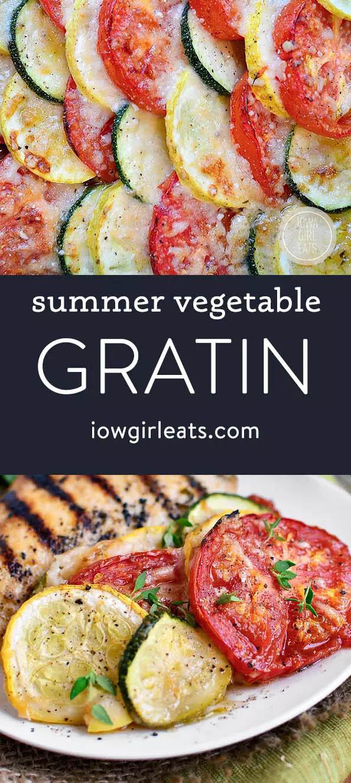 photo collage of summer vegetable gratin