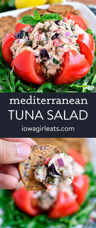 Photo collage of mediterranean tuna salad
