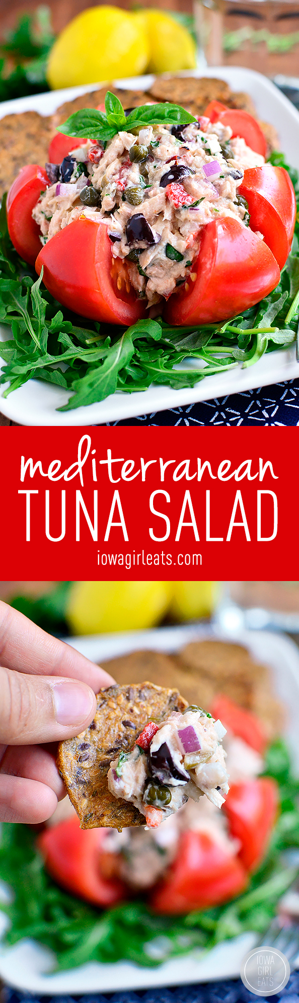 Mediterranean Tuna Salad is fresh and light - serve in a tomato, on a ...