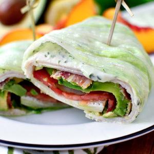 California Turkey and Bacon Lettuce Wraps with Basil-Mayo