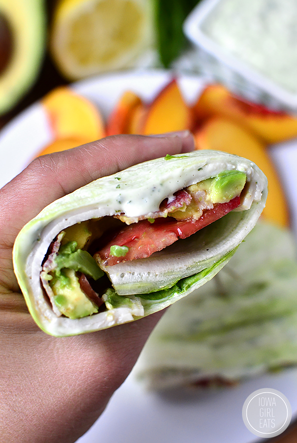 California Turkey and Bacon Lettuce Wraps with Basil-Mayo are fresh, filling, and come together in minutes! #glutenfree   iowagirleats.com