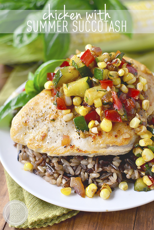 Chicken with Summer Succotash is a quick, healthy, and easy side dish recipe. Serve in a bowl or scooped over chicken! | iowagirleats.com