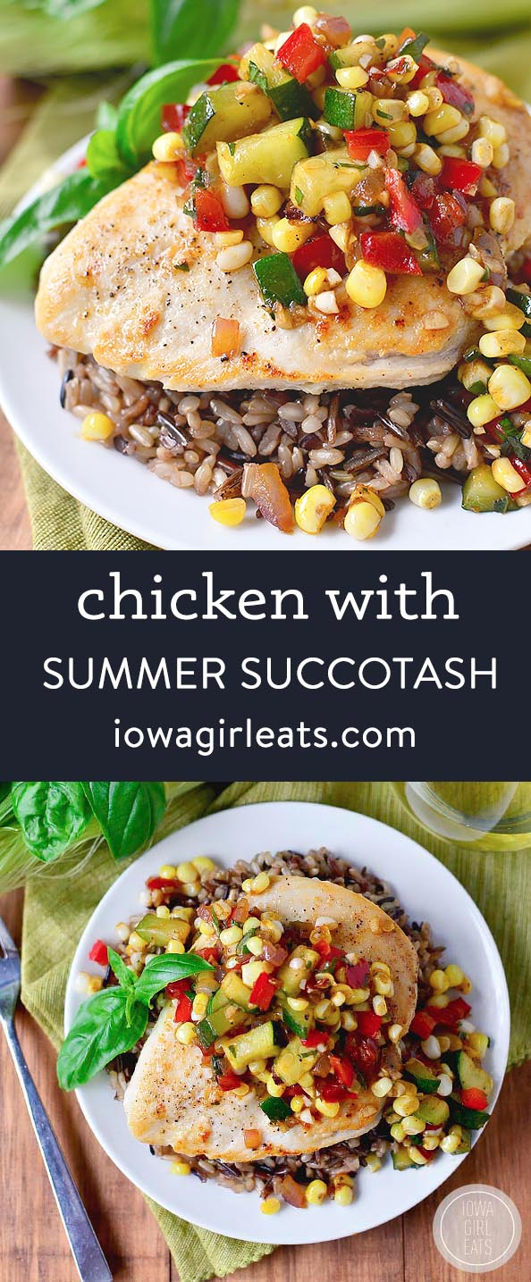 Photo collage of chicken with summer succotash