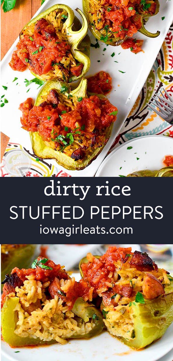 photo collage of dirty rice stuffed peppers