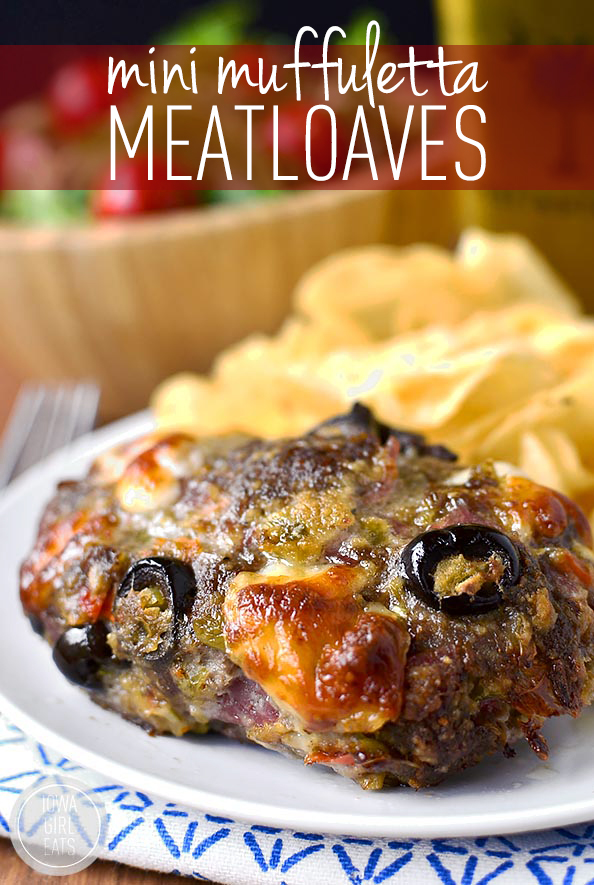 Mini Muffuletta Meatloaves are packed with NOLA-inspired flavor in a miniature, personal-sized meatloaf! #glutenfree | iowagirleats.com