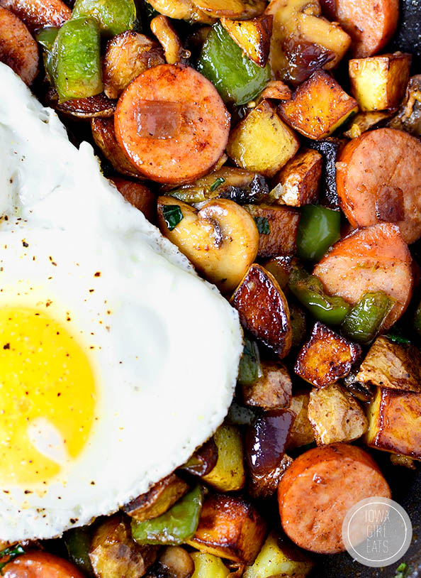 over easy egg on top of sausage hash