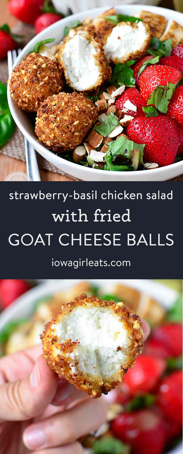 Photo collage of of fried goat cheese balls